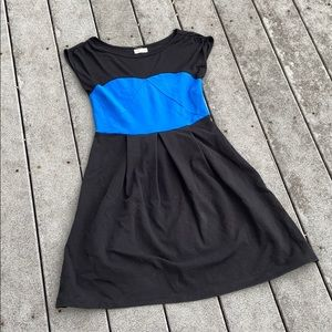 Black and Blue Color Block Dress